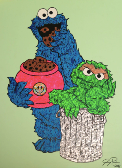 Cookie Monster and Oscar