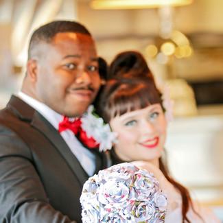 groom pin up rockabilly bride at mustang