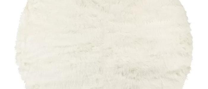 WHITE FAUX FUR ROUND RUG