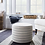 Thumbnail: UPHOLSTERED BEIGE - BLUE ROUND OTTOMAN CUBE