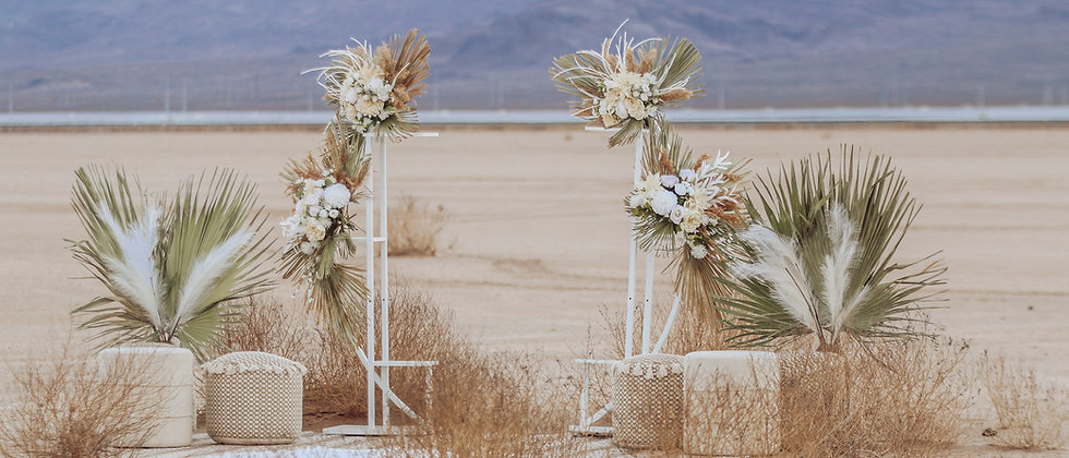 BOHO BOHEMIAN CEREMONY SPACE with ARCH + BOUQUET - COMPLETE SET-UP 15+PIECES