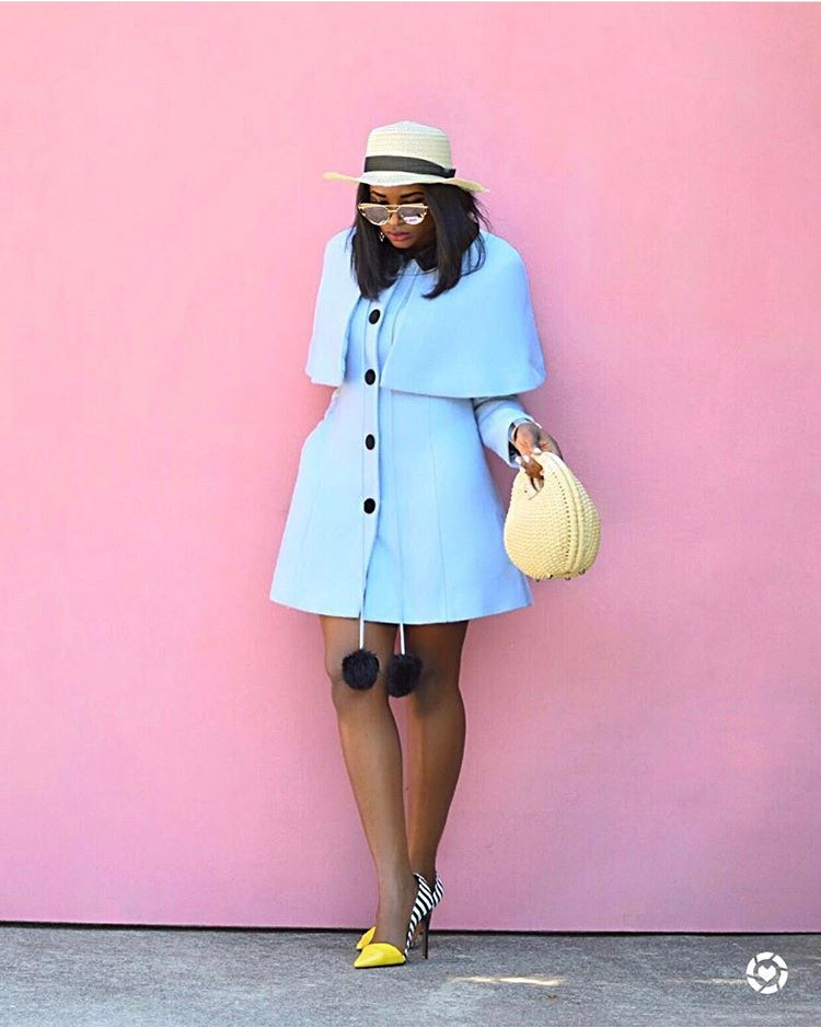 Instagram @thestyleminimalist; Baby Blue jacket and yellow heels