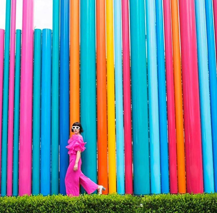 Instagram @afashionnerd; hot pink jumpsuit