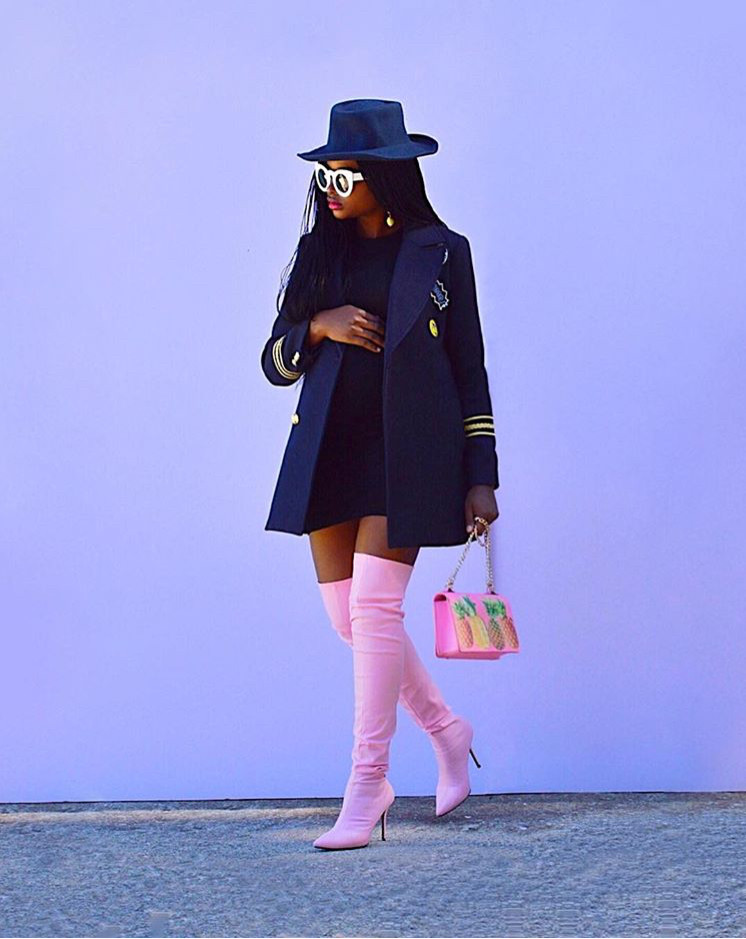 Instagram @thestyleminimalist; Barbie pink boots