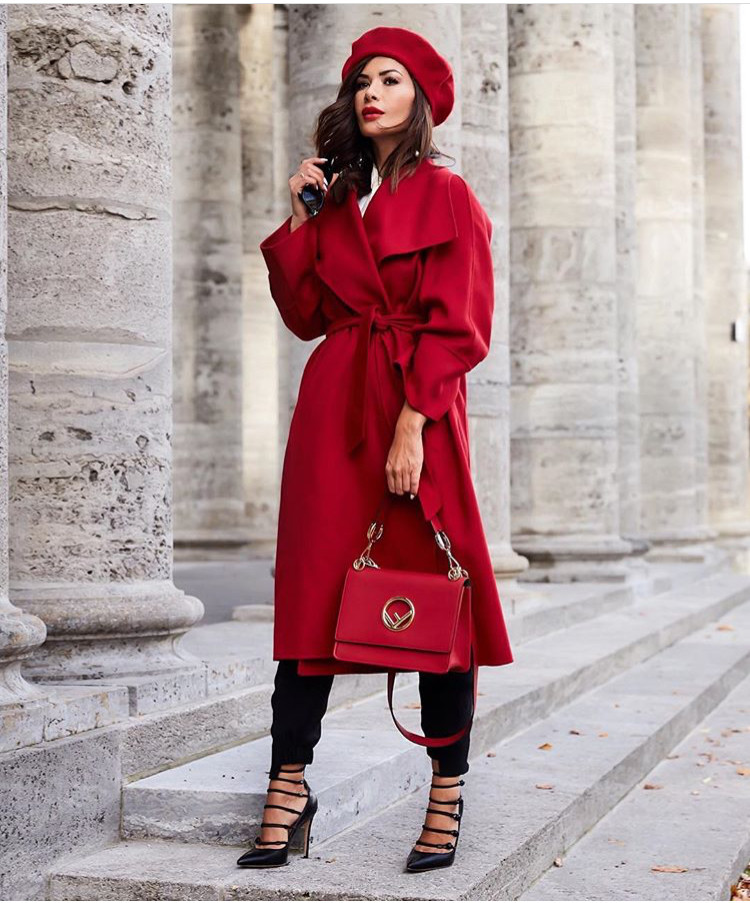 Fashion Model wearing all red