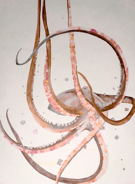 Melissa Robertson art, octopus art, ink