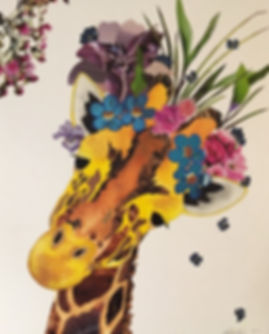 Melisa Robertson Art, giraffe collage, drawing