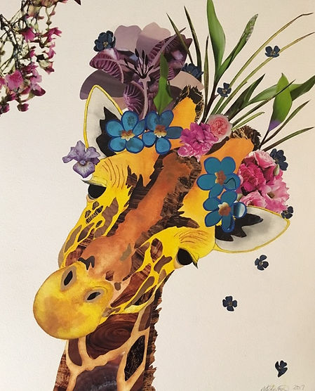 Melisa Robertson Art, giraffe collage, drawing