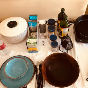 5:00 a.m. HS cooking setup in room