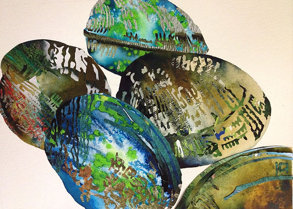 Melissa Robertson art, ocean art, clam, mussel, collage