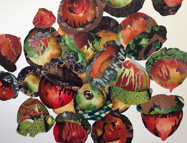 Melissa Robertson art, acorn drawing, red art, collage