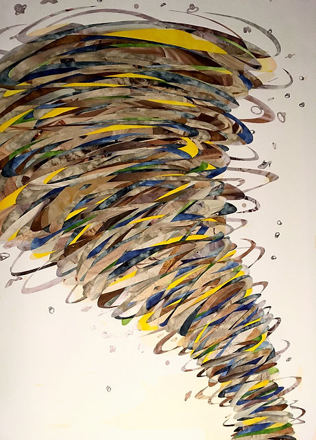 Melissa Robertson art, tornado drawing, collage