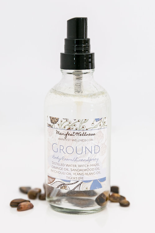 Ground Essential Oil + Gemstone Infused Body/Room/Linen Spray