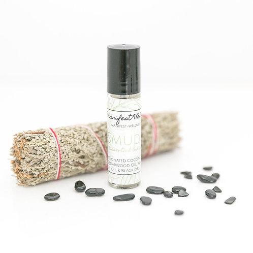 Smudge Essential Oil Blend, Sage, Frankincense, Cedarwood, Black Obsidian Blend