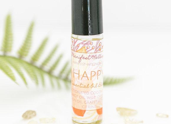 Happy Citrus Essential Oil Blend with Citrine Gemstones