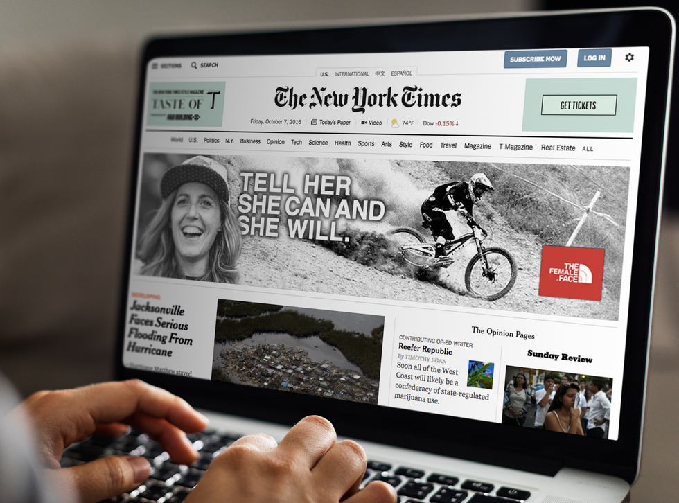Banner AD mockup on New York Times
