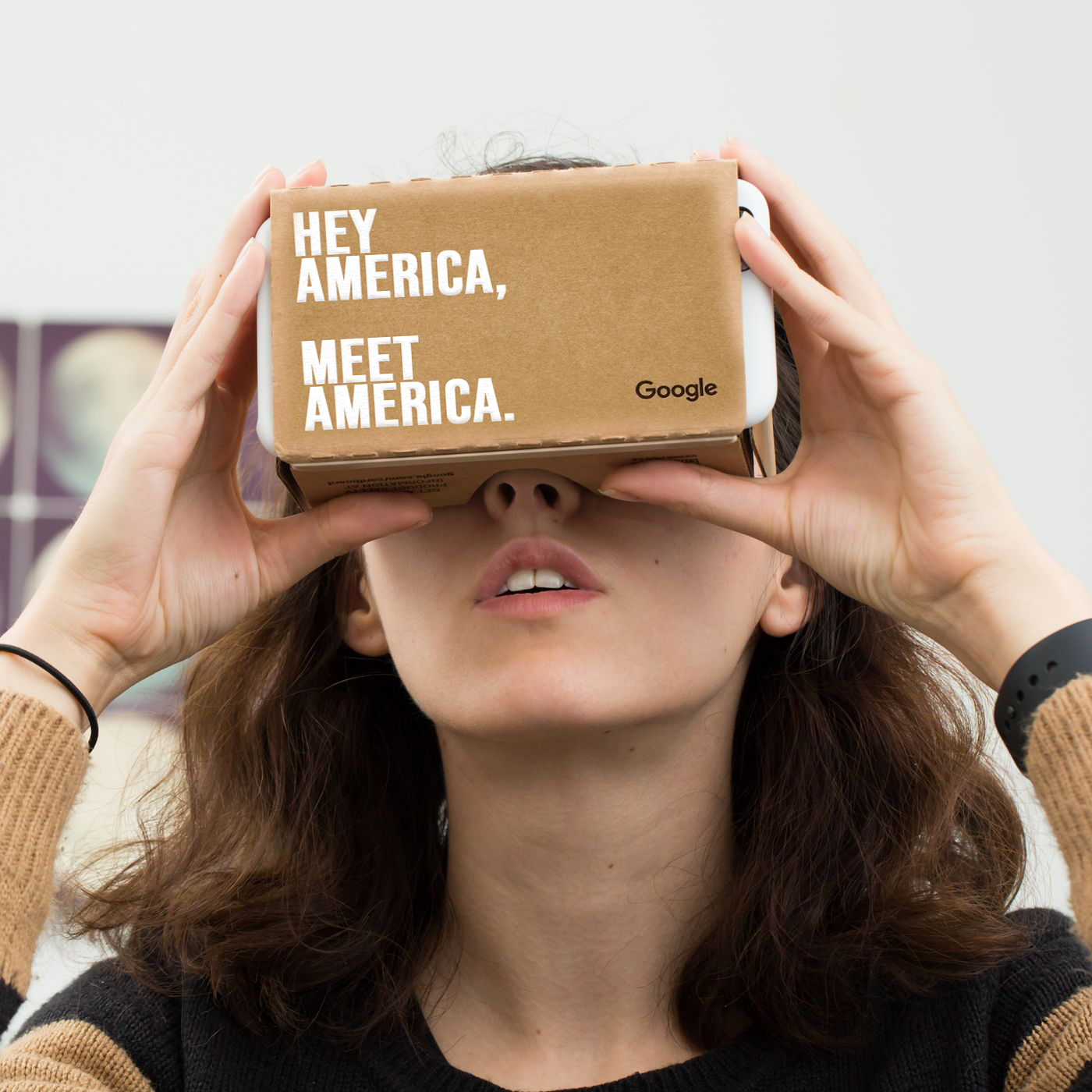 Google Cardboard On Person