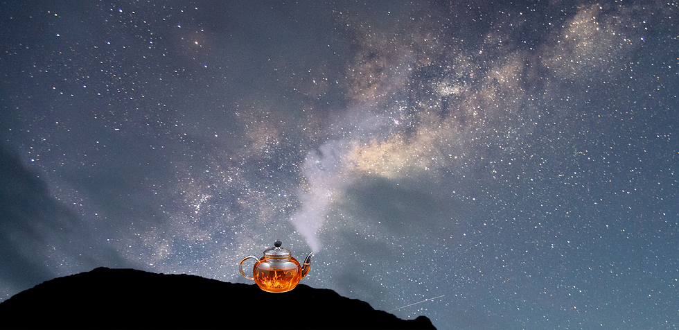A clear glass teapot full of flames sits on a hill overlooking a starry sky