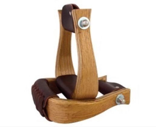"""2"""" Wood Stirrups with Leather Tread"""