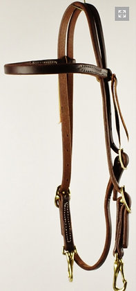 Oiled Harness Leather Browband Headstall with Snap Ends