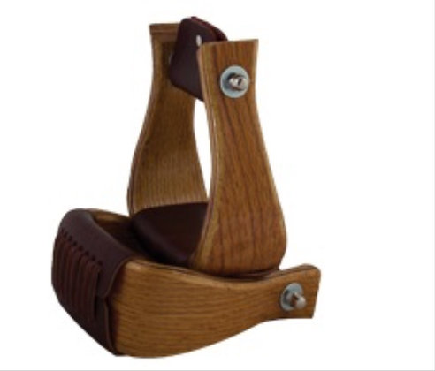 "3"" Wood Stirrups with Leather Tread"