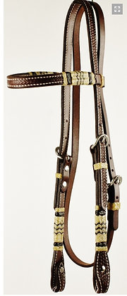 "5/8"" Dark Oil Browband Basket Weave with Rawhide Headstall"