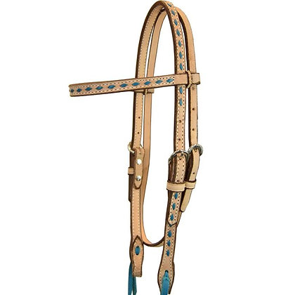 Browband Blue Buckstitch Roughout Headstall
