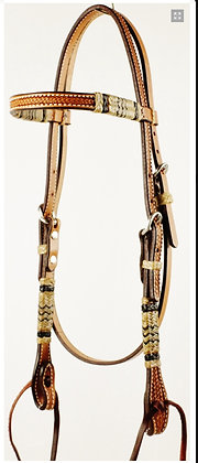 Browband Headstall with Rawhide