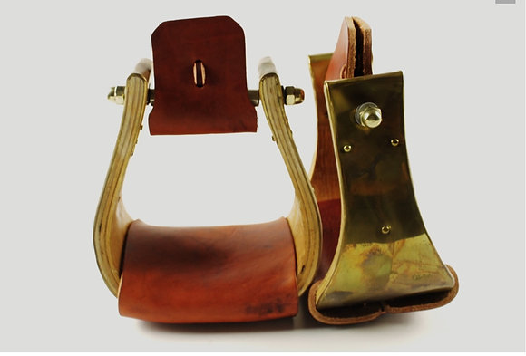 Stainless Steel or Brass Covered Wood Stirrups with Leather Tread