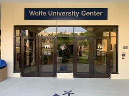 shoe box FIU Wolfe University Center sign