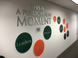 Interior metal wall lettering