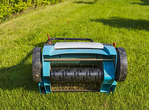 Close up view of electric lawn aerator o