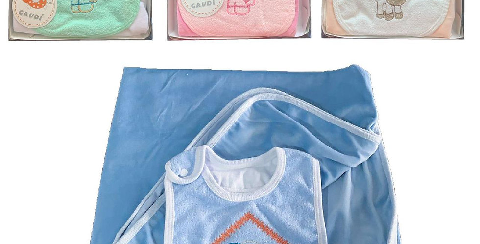 Oferta 4 manta plush con babero bordado