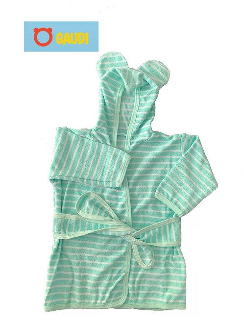 Salida de bano bebe con oreja rayada (towel)