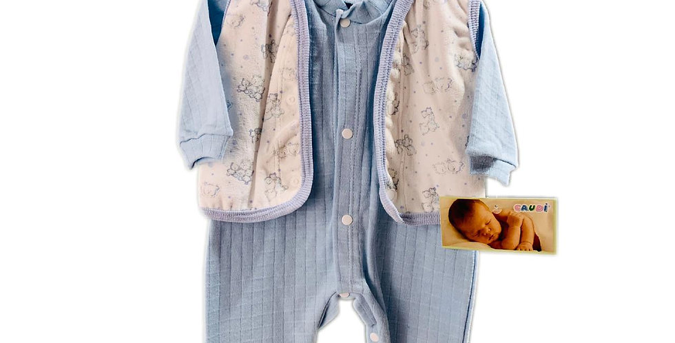 Enterito algodon con chaleco plush estampado