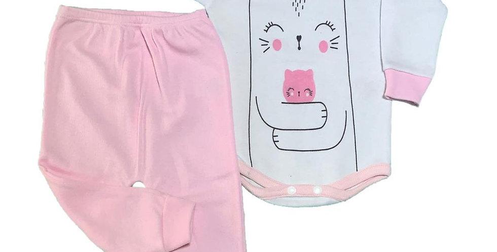 Conjunto x2 - Body con estampa + Pantalón sin pie