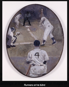 #4 (Joe Cronin) up after Bobby Doerr Oil on canvas painting (Phelps Collection MA)