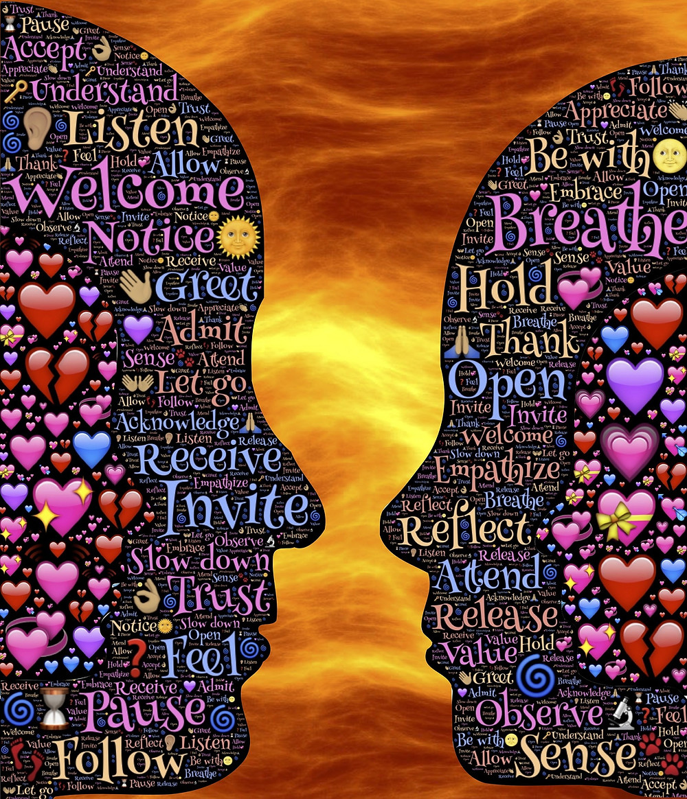 The silhouette of the faces of a man and woman. There are words and symbols throughout the silhouette. Words such as accept, Listen, Let Go, Acknowledge, Pause . Symbols of hearts, flowers, hands, and keys.