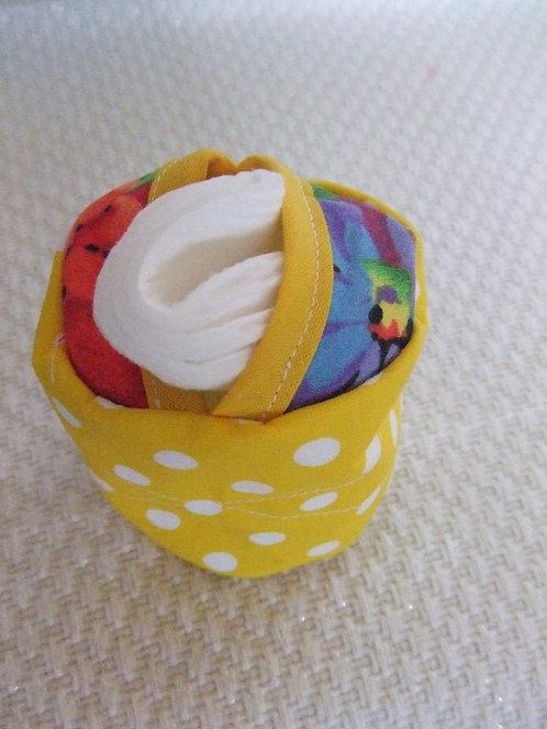 Etui- coton à démaquiller- jaune et fleurs