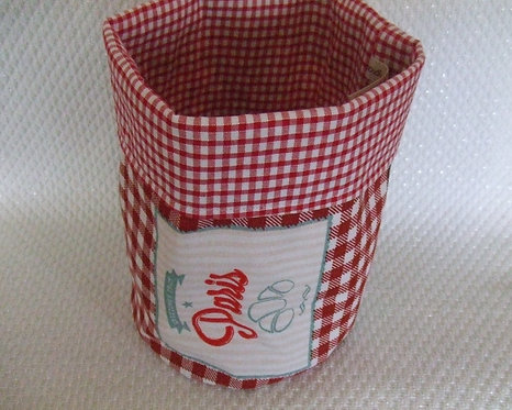 Vide poche-pochon- tissu tres vintage vichy rouge & blanc