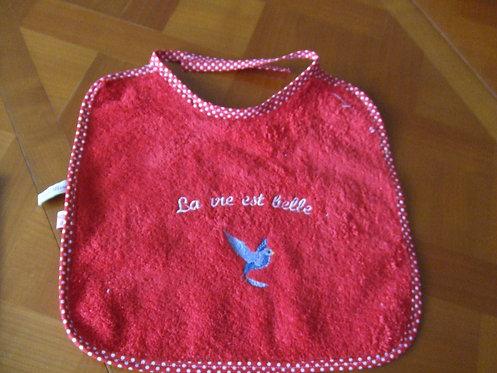 Bavoir - éponge rouge - oiseau - la vie est belle