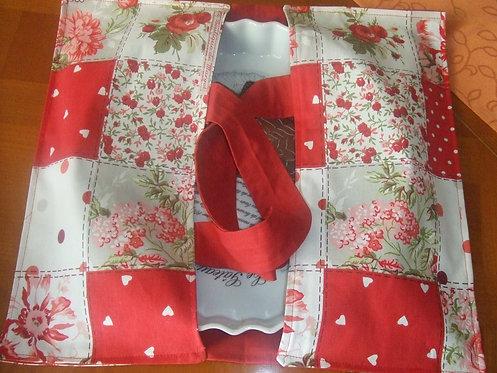 Sac à tarte- Motif patchwork rouge