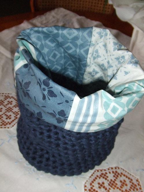 Pochon - vide poche- crochet et tissu enduit