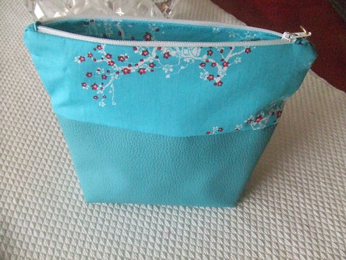 Trousse toilette - Bella- Bi-matiere turquoise