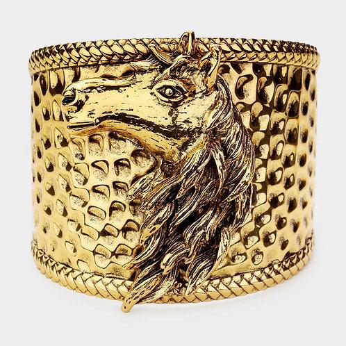 Metal Horse Head Cuff Gold