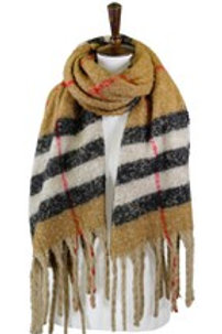 Boucle Fuzzy Plaid Oblong Scarf
