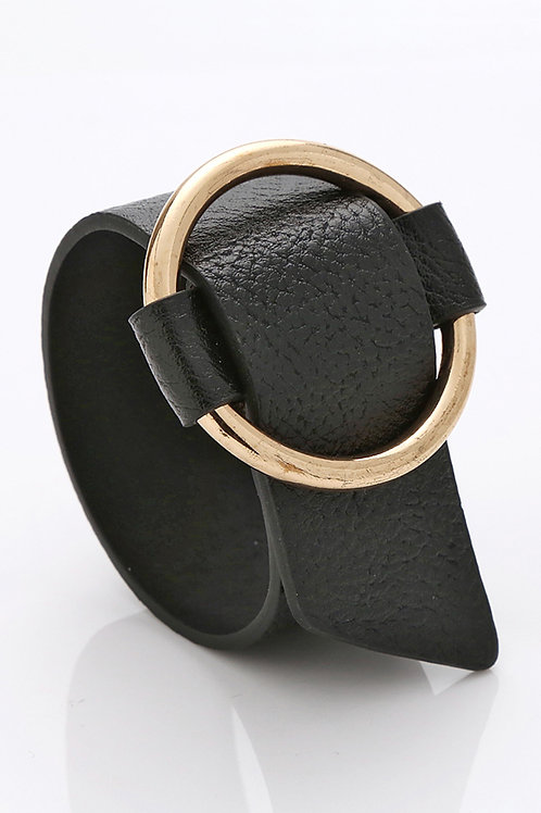 Belted Vegan Leather Cuff