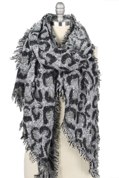 Oversized Scarf Leopard Grey