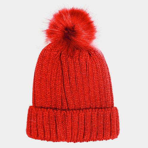 Chenile Pom Pom Hat Red