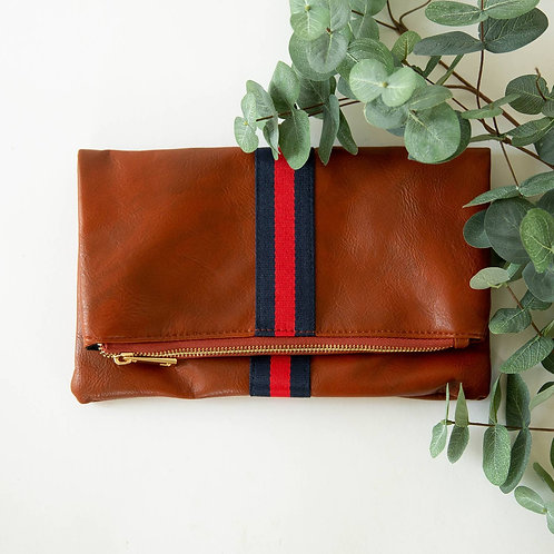 Vegan Leather Folding Clutch Red Stripe